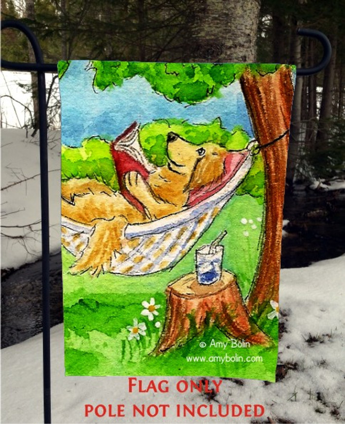GARDEN FLAG · SUMMER IS FOR READING · GOLDEN RETREIVER · AMY BOLIN