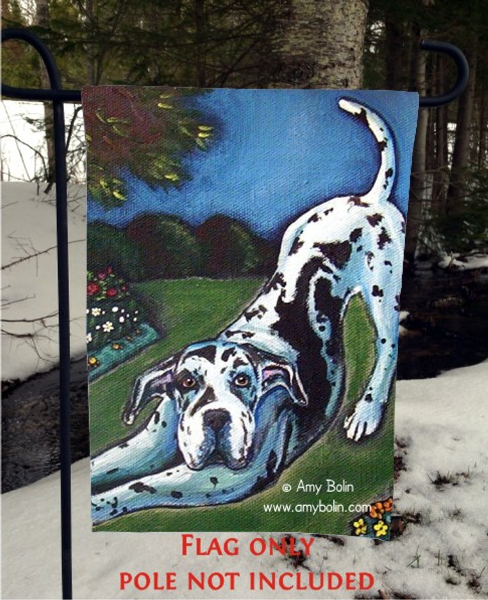 GARDEN FLAG · HARLEQUIN GARDEN · GREAT DANE · AMY BOLIN