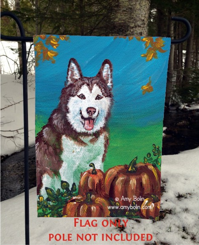 GARDEN FLAG · AUTUMN'S SIMPLE PLEASURES · SIBERIAN HUSKY · AMY BOLIN