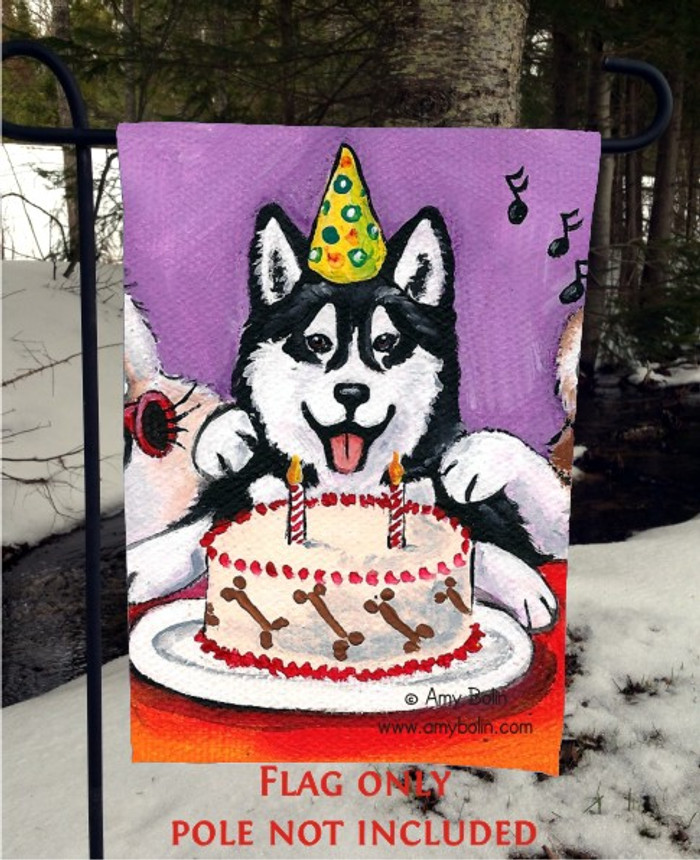 GARDEN FLAG · HAPPY BIRTHDAY TO YOU (BROWN EYES) · SIBERIAN HUSKY · AMY BOLIN