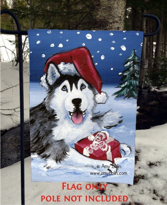 GARDEN FLAG · MERRY CHRISTMAS (BLUE EYES) · SIBERIAN HUSKY · AMY BOLIN