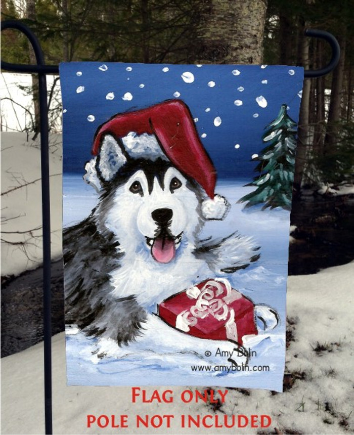 GARDEN FLAG · MERRY CHRISTMAS (BROWN EYES) · SIBERIAN HUSKY · AMY BOLIN