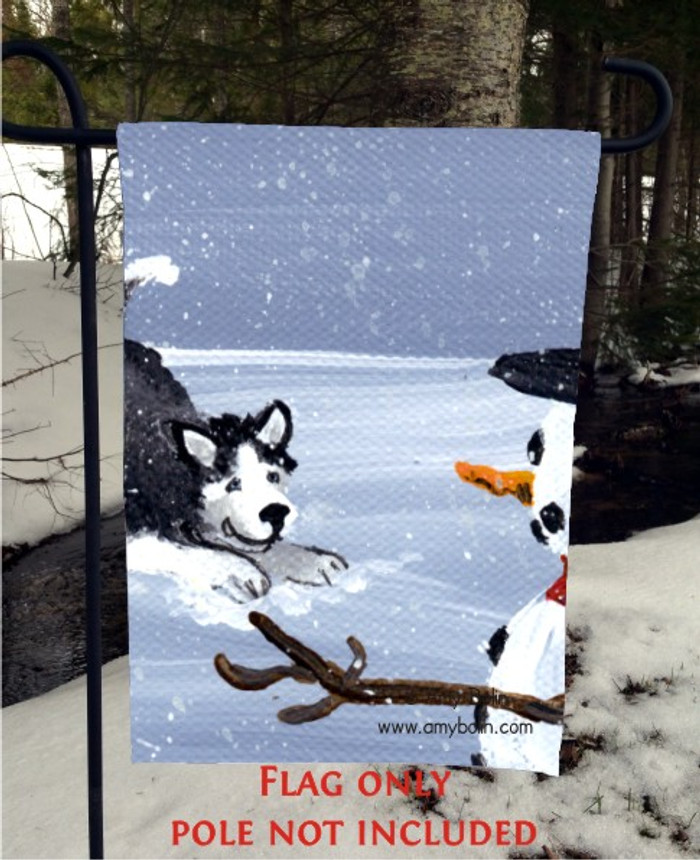 GARDEN FLAG · MY SNOWY FRIEND (BLACK) (BLUE EYES) · SIBERIAN HUSKY · AMY BOLIN
