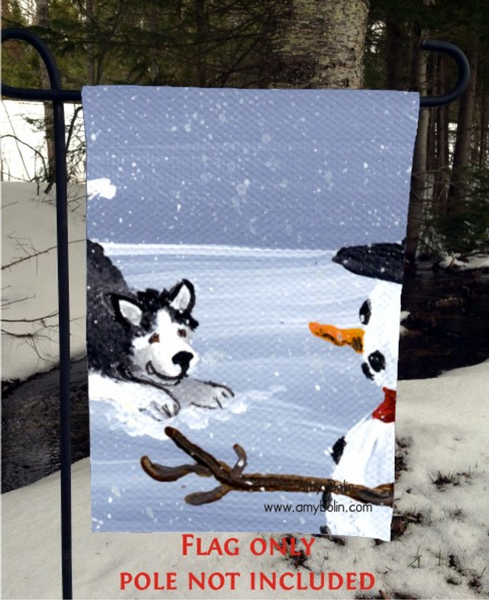 GARDEN FLAG · MY SNOWY FRIEND (BLACK) (BROWN EYES) · SIBERIAN HUSKY · AMY BOLIN