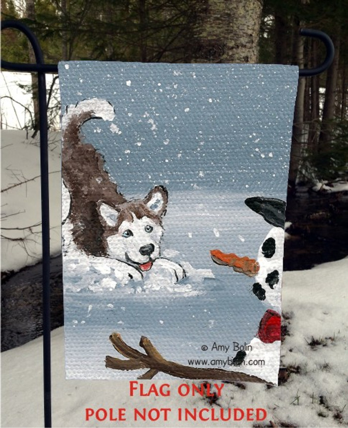 GARDEN FLAG · MY SNOWY FRIEND (RED) (BLUE EYES) · SIBERIAN HUSKY · AMY BOLIN