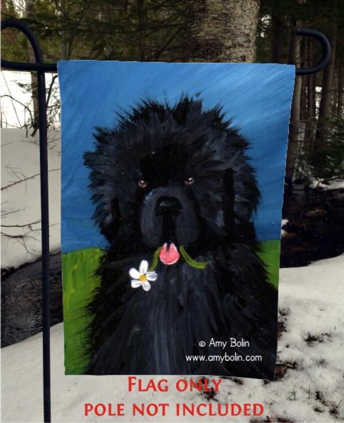 GARDEN FLAG · A FLOWER FOR MOM · BLACK NEWFOUNDLAND · AMY BOLIN