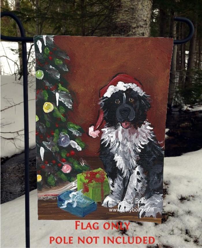 GARDEN FLAG · MERRY CHRISTMAS · LANDSEER NEWFOUNDLAND · AMY BOLIN