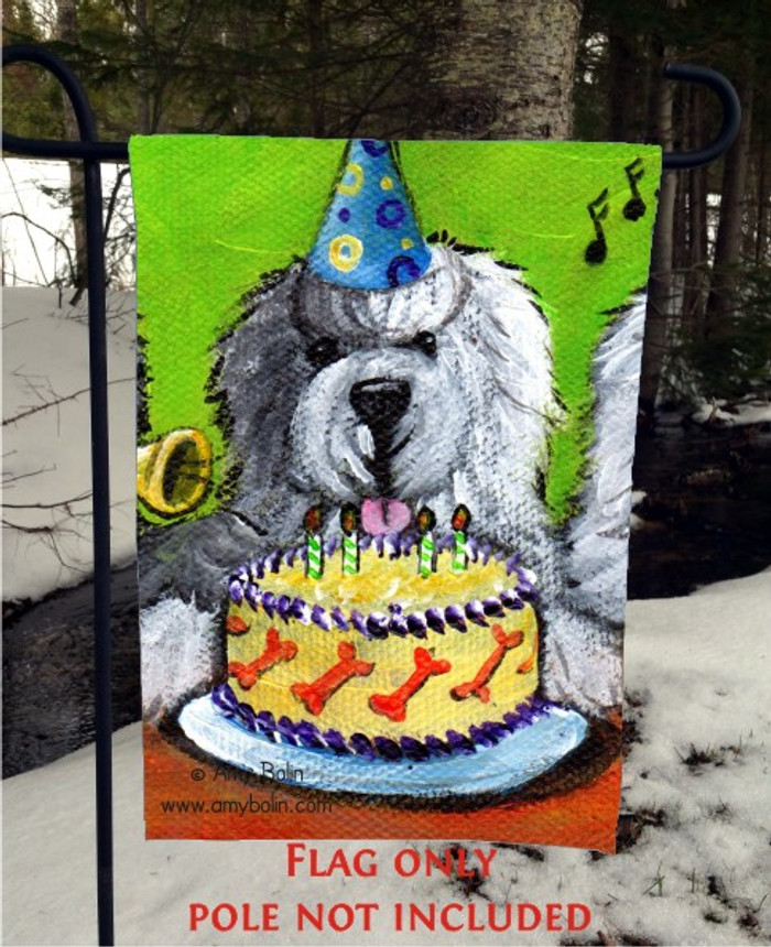GARDEN FLAG · HAPPY BIRTHDAY TO YOU · OLD ENGLISH SHEEPDOG · AMY BOLIN
