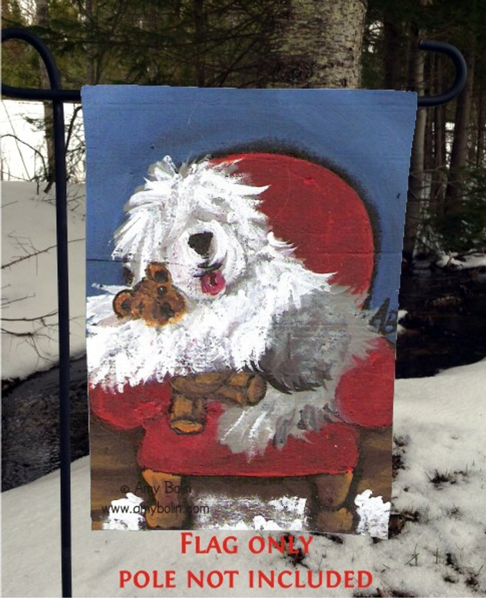 GARDEN FLAG · JUST ME AND TED · OLD ENGLISH SHEEPDOG · AMY BOLIN
