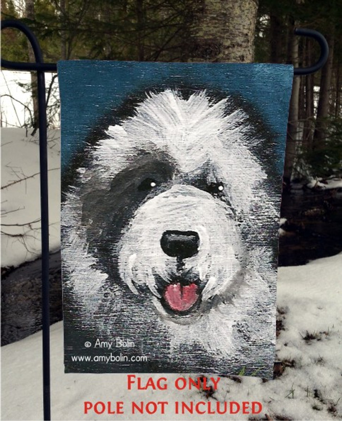 GARDEN FLAG · TOBY · OLD ENGLISH SHEEPDOG · AMY BOLIN