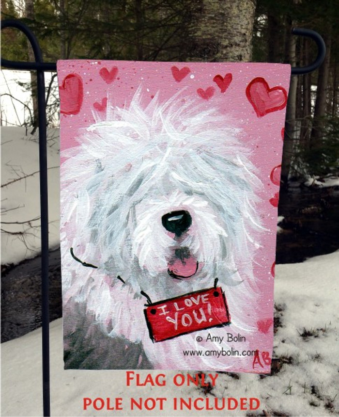 GARDEN FLAG · VALENTINE · OLD ENGLISH SHEEPDOG · AMY BOLIN