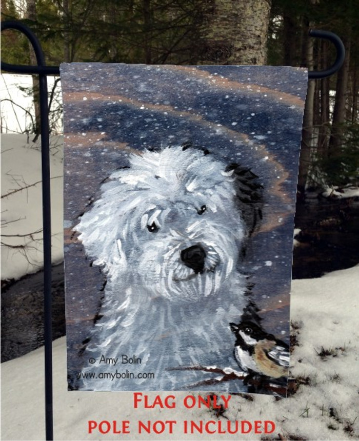 GARDEN FLAG · WINTER BUDDIES · OLD ENGLISH SHEEPDOG · AMY BOLIN