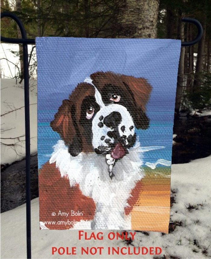 GARDEN FLAG · A DAY AT THE BEACH · SAINT BERNARD · AMY BOLIN