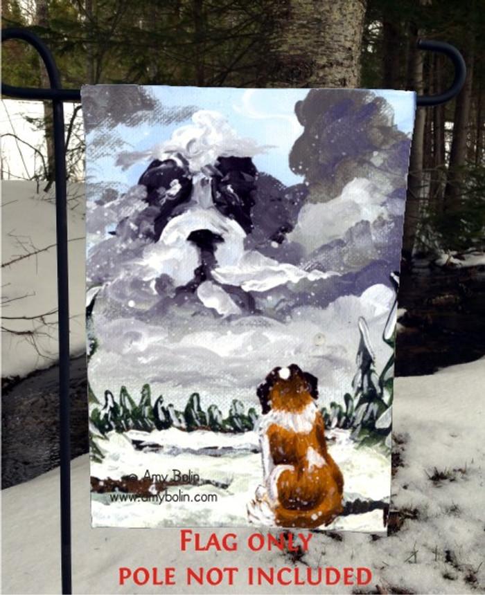 GARDEN FLAG · FIRST SNOW · SAINT BERNARD · AMY BOLIN