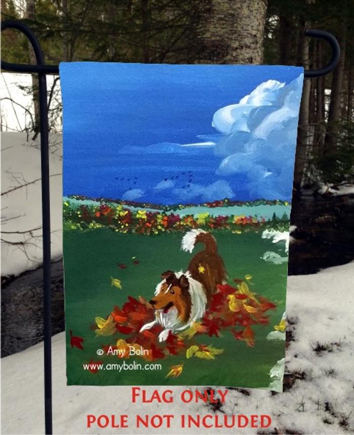 GARDEN FLAG · FOUR SEASONS · SHELTIE AUTUMN · AMY BOLIN