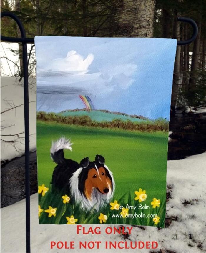 GARDEN FLAG · FOUR SEASONS · SHELTIE SPRING · AMY BOLIN