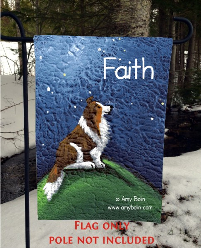 GARDEN FLAG · FAITH · SABLE SHELTIE · AMY BOLIN