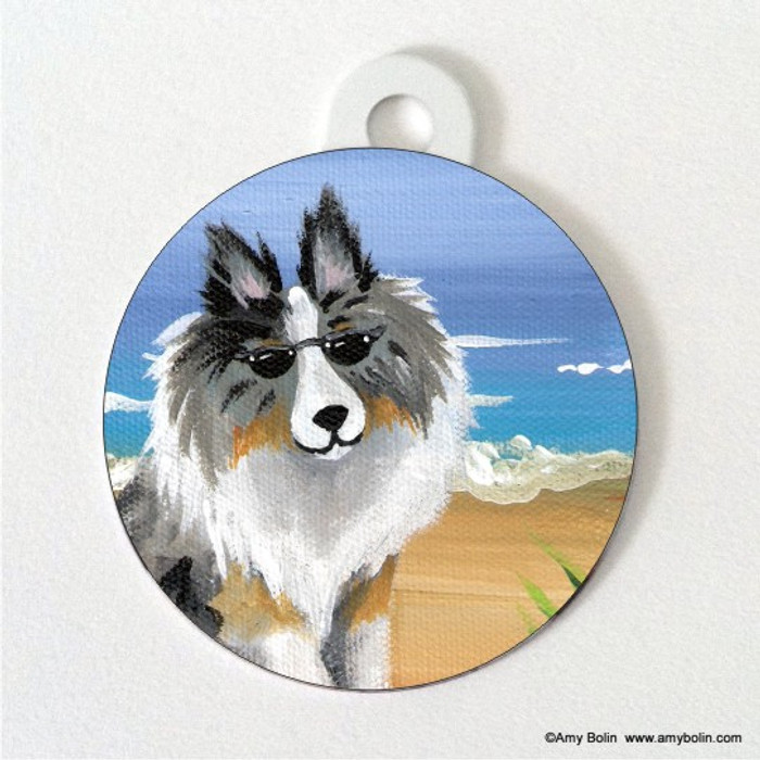 DOUBLE SIDED PET ID TAG · HELLO HOLLYWOOD · BLUE MERLE SHELTIE · AMY BOLIN