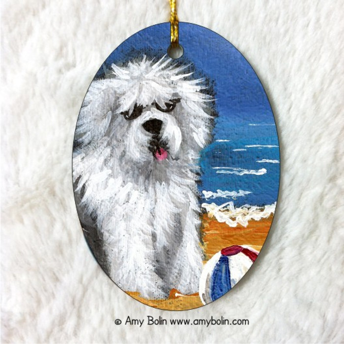 OVAL SHAPED CERAMIC ORNAMENT · BEACH BUM · OLD ENGLISH SHEEPDOG · AMY BOLIN