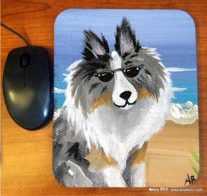 MOUSE PAD · HELLO HOLLYWOOD · BLUE MERLE SHELTIE · AMY BOLIN