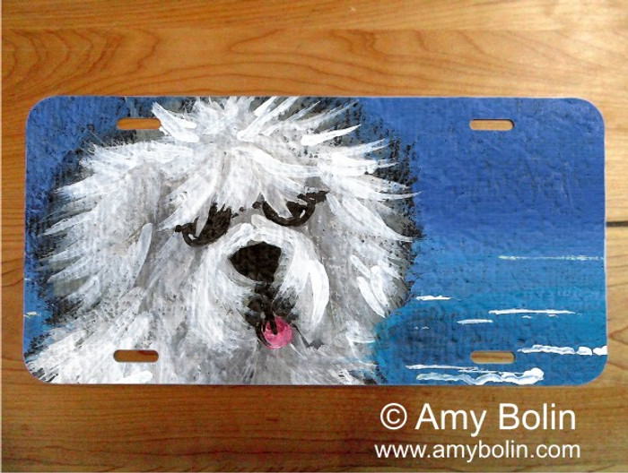 """Beach Bum"" Old English Sheepdog License Plate"