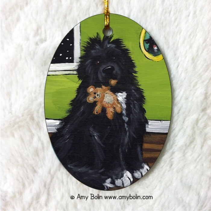 OVAL SHAPED CERAMIC ORNAMENT · BEDTIME BUDDIES · IRISH SPOTTED NEWFOUNDLAND · AMY BOLIN