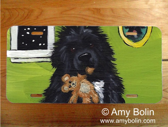 LICENSE PLATE · BEDTIME BUDDIES · IRISH SPOTTED NEWFOUNDLAND · AMY BOLIN