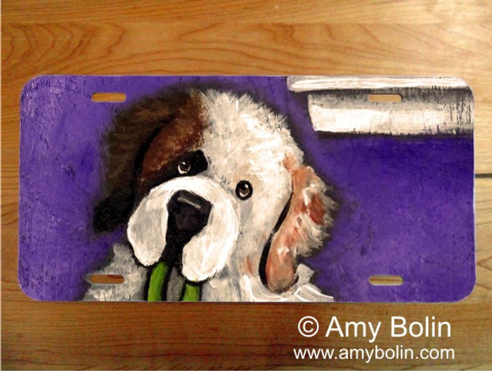 LICENSE PLATE · BEDTIME BUDDIES · HALF MASK SAINT BERNARD · AMY BOLIN
