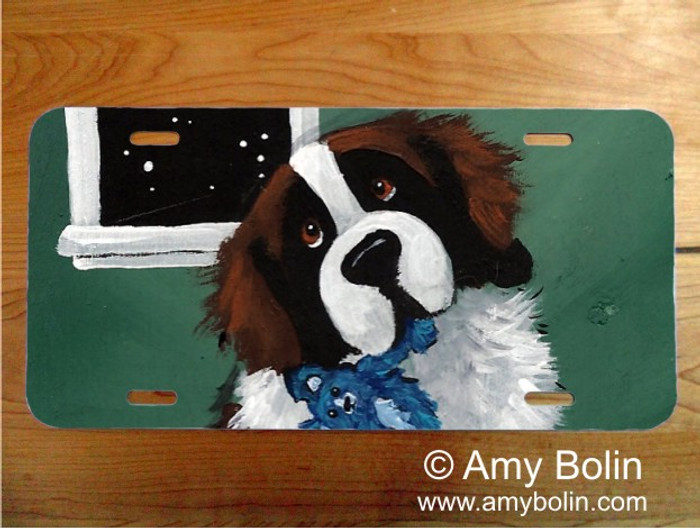 LICENSE PLATE · BEDTIME BUDDIES · SAINT BERNARD · AMY BOLIN