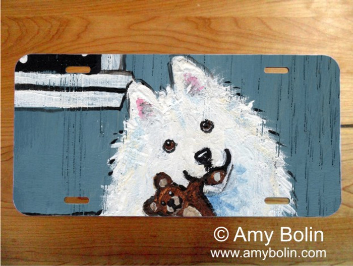 LICENSE PLATE · BEDTIME BUDDIES · SAMOYED · AMY BOLIN