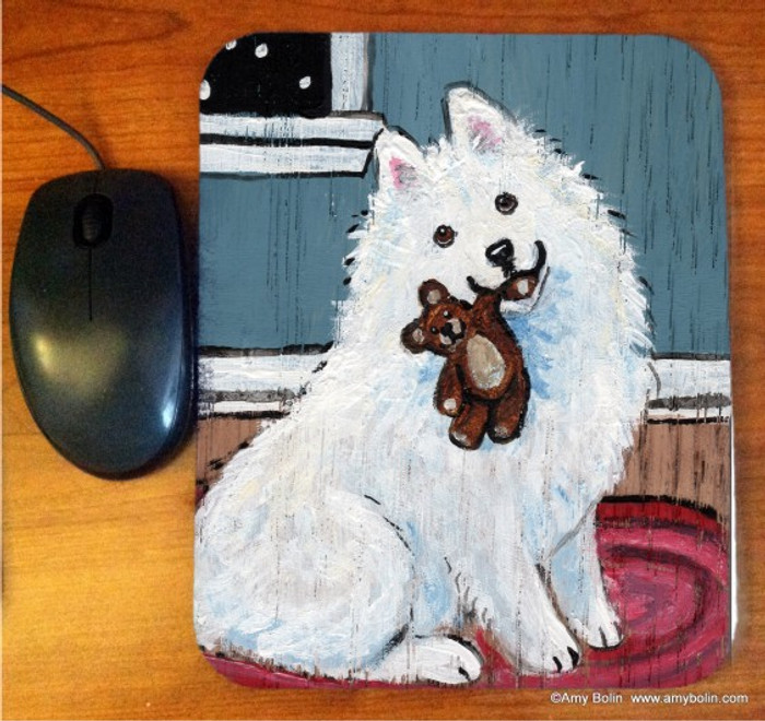 MOUSE PAD · BEDTIME BUDDIES · SAMOYED · AMY BOLIN