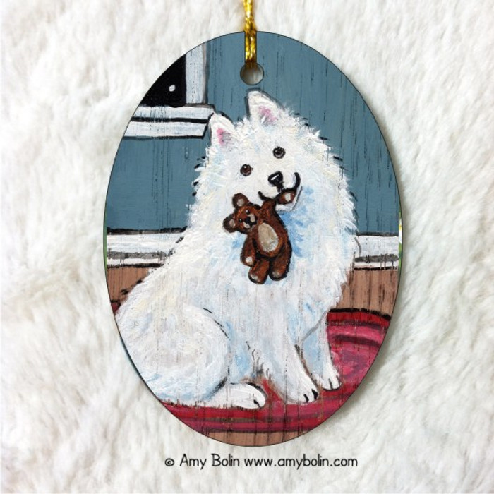 OVAL SHAPED CERAMIC ORNAMENT · BEDTIME BUDDIES · SAMOYED · AMY BOLIN