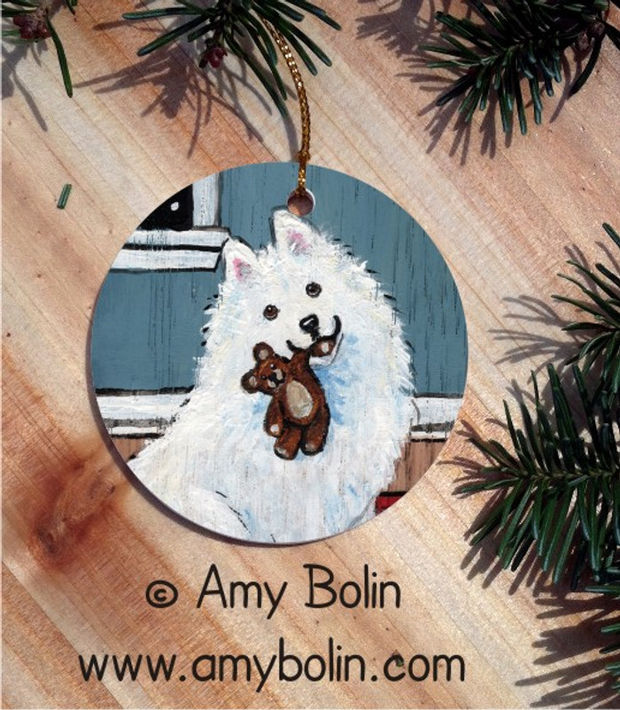 CERAMIC ORNAMENT · BEDTIME BUDDIES · SAMOYED · AMY BOLIN