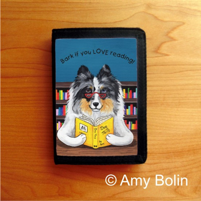 TRIFOLD WALLET · DOG TAILS VOL 5 · BLUE MERLE SHELTIE · AMY BOLIN