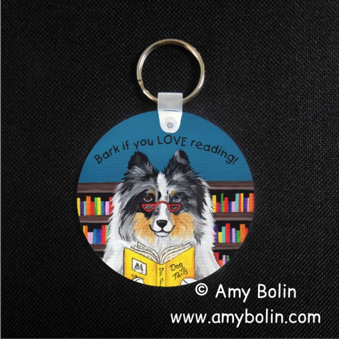 KEY CHAIN · DOG TAILS VOL 5 · BLUE MERLE SHELTIE · AMY BOLIN