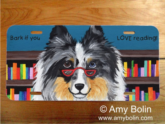 LICENSE PLATE · DOG TAILS VOL 5 · BLUE MERLE SHELTIE · AMY BOLIN