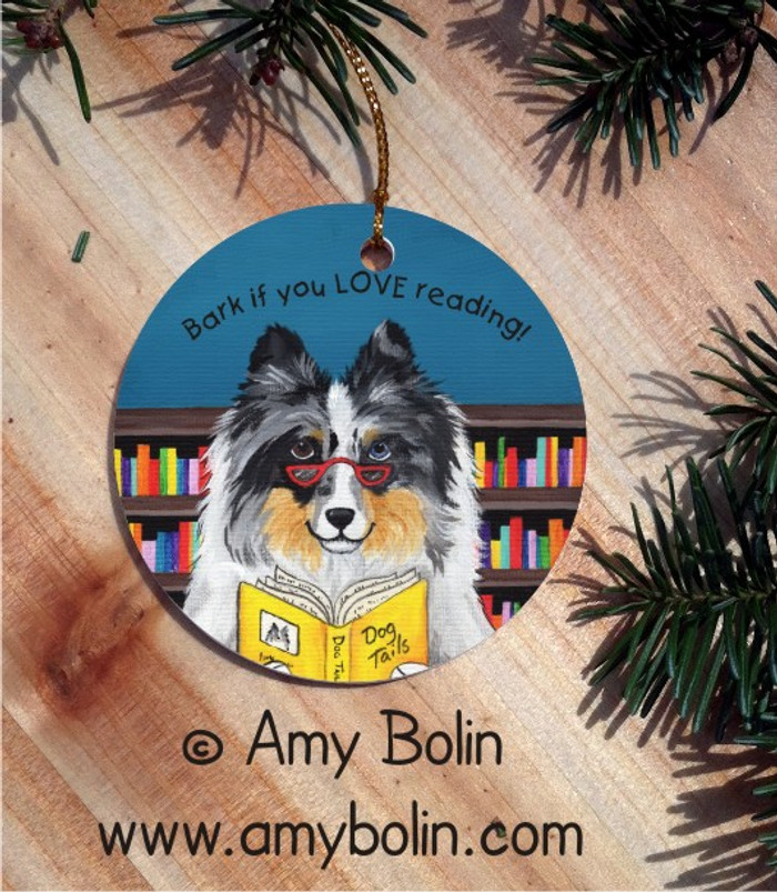CERAMIC ORNAMENT · DOG TAILS VOL 5 · BLUE MERLE SHELTIE · AMY BOLIN