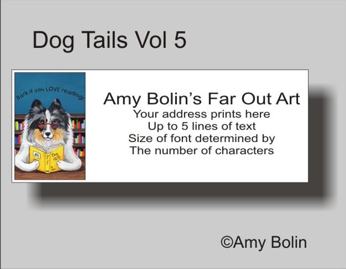 ADDRESS LABELS · DOG TAILS VOL 5 · BLUE MERLE SHELTIE · AMY BOLIN