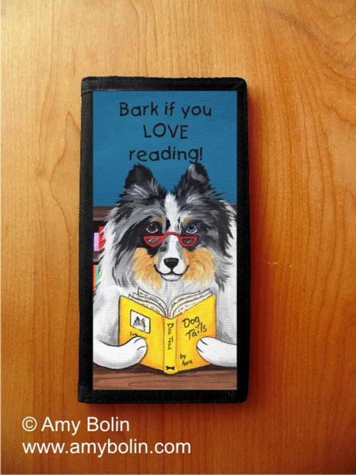 CHECKBOOK COVER · DOG TAILS VOL 5 · BLUE MERLE SHELTIE · AMY BOLIN