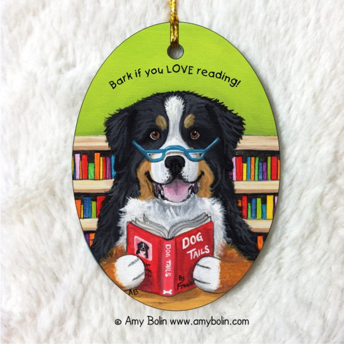 OVAL SHAPED CERAMIC ORNAMENT · DOG TAILS VOL 4 · BERNESE MOUNTAIN DOG · AMY BOLIN