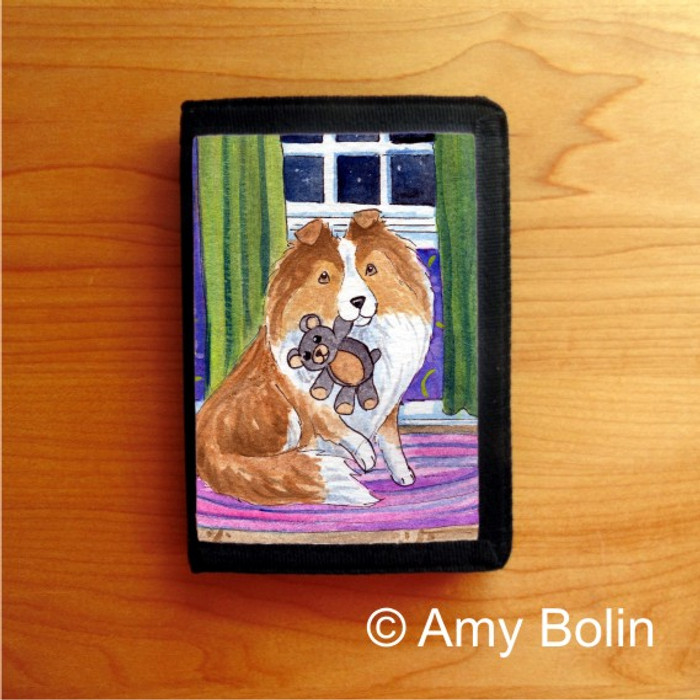 TRIFOLD WALLET · BEDTIME BUDDIES · SABLE SHELTIE · AMY BOLIN
