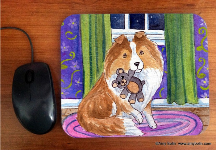 MOUSE PAD · BEDTIME BUDDIES · SABLE SHELTIE · AMY BOLIN
