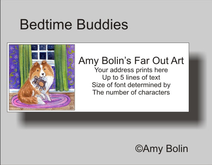ADDRESS LABELS · BEDTIME BUDDIES · SABLE SHELTIE · AMY BOLIN