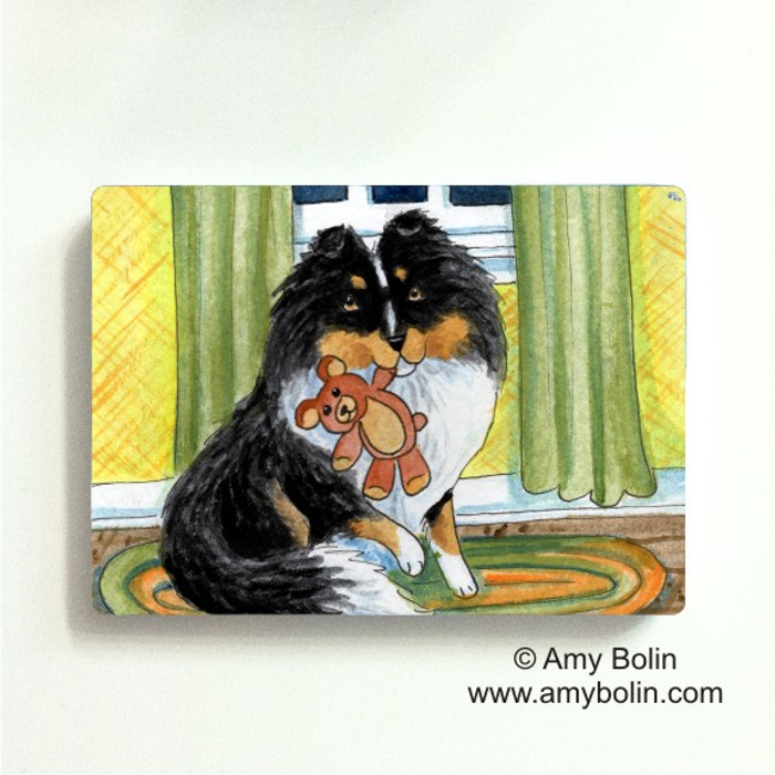 MAGNET · BEDTIME BUDDIES · TRI COLOR SHELTIE · AMY BOLIN