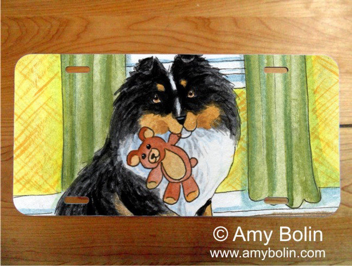 LICENSE PLATE · BEDTIME BUDDIES · TRI COLOR SHELTIE · AMY BOLIN