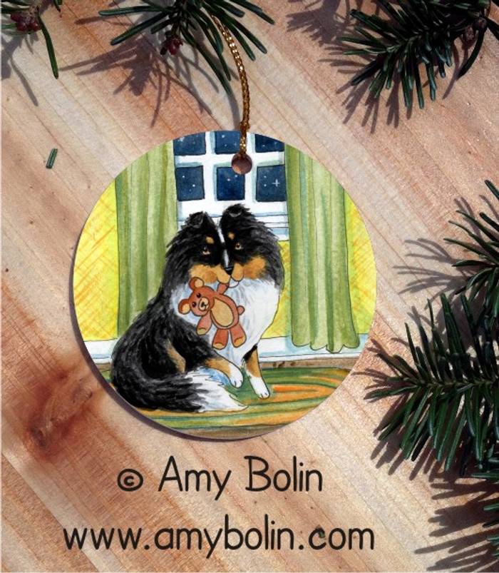 CERAMIC ORNAMENT · BEDTIME BUDDIES · TRI COLOR SHELTIE · AMY BOLIN
