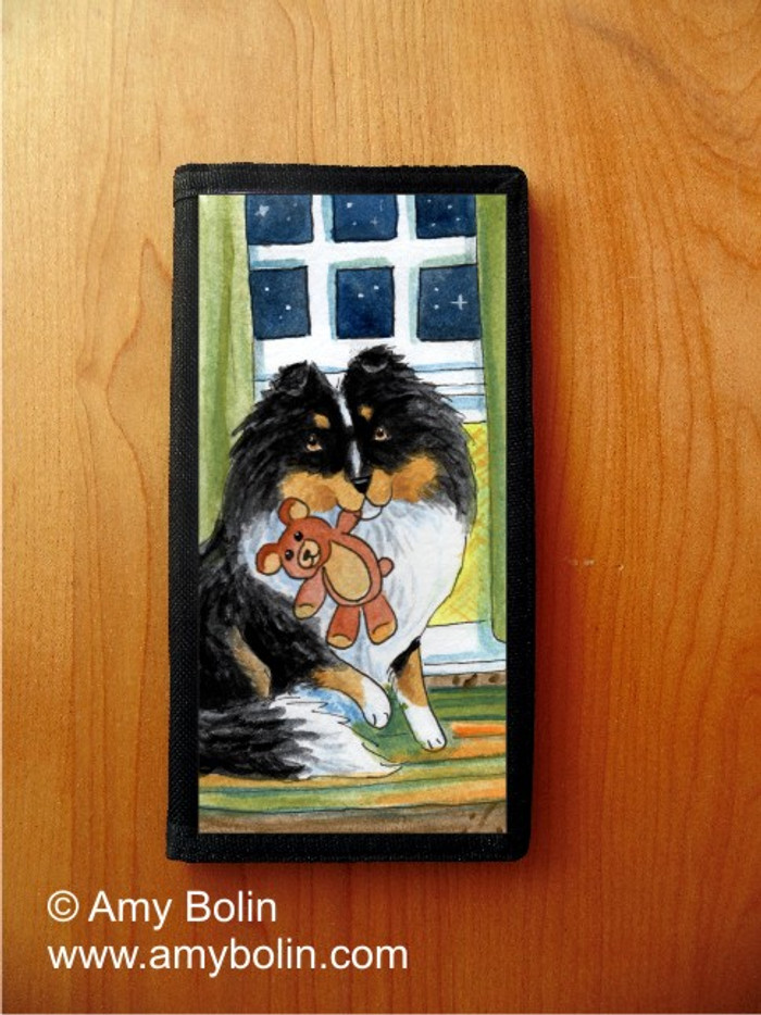 CHECKBOOK COVER · BEDTIME BUDDIES · TRI COLOR SHELTIE · AMY BOLIN