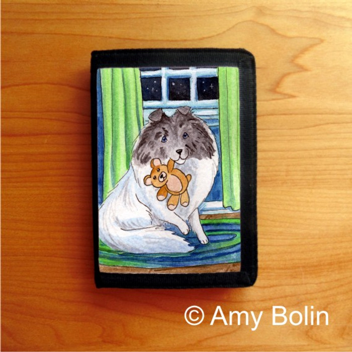 TRIFOLD WALLET · BEDTIME BUDDIES · COLOR HEADED WHITE SHELTIE · AMY BOLIN