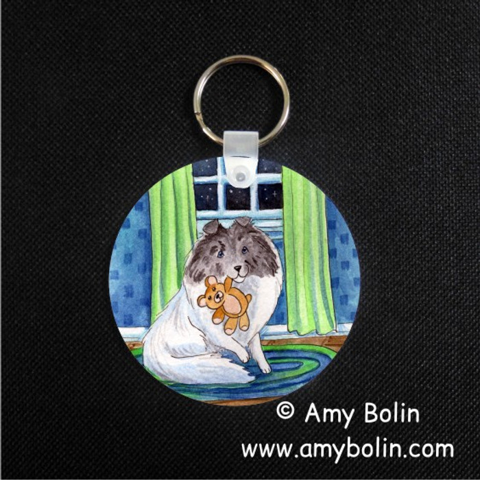 KEY CHAIN · BEDTIME BUDDIES · COLOR HEADED WHITE SHELTIE · AMY BOLIN