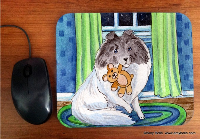 MOUSE PAD · BEDTIME BUDDIES · COLOR HEADED WHITE SHELTIE · AMY BOLIN